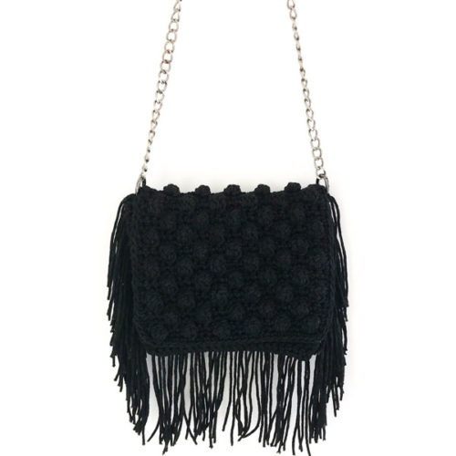 crochet fringed bag.