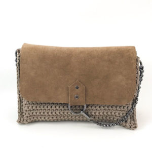 Crochet & suede bag