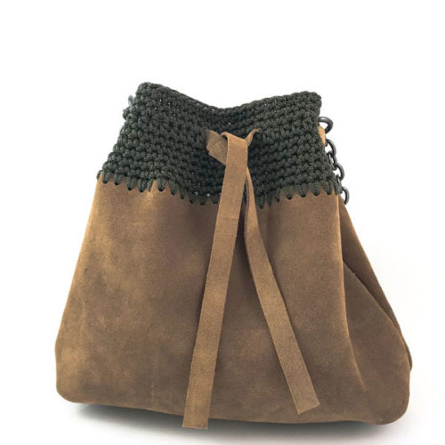 Handmade suede bucket bag