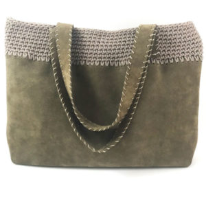 Handcrafted suede tote bag