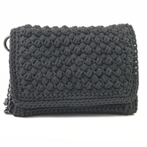 Dark grey crochet bag