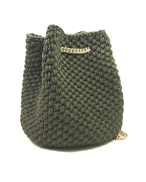 Crochet olive bucket bag