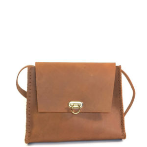 handmade leather shoulder bag brown hand stitched