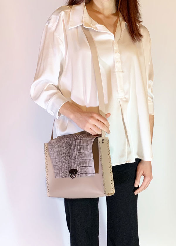 bella croco leather handcrafted shoulder bag