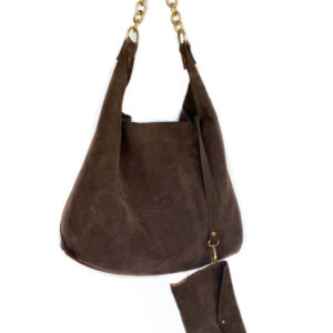 handcrafted suede hobo bag