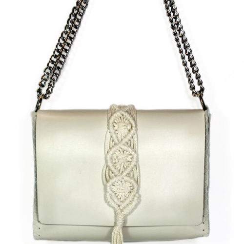 vanity leather macrame bag